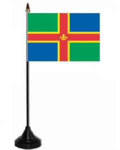 Lincolnshire Desk / Table Flag with plastic stand and base.